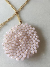 beaded medallion necklace baby pink