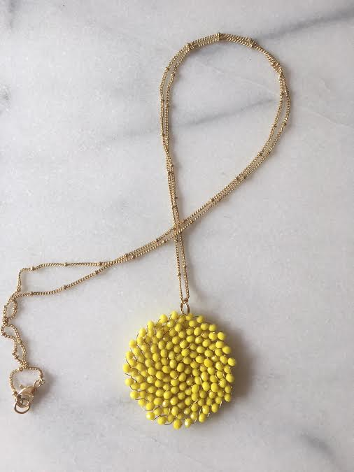 beaded pendant necklace yellow