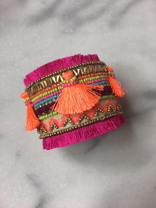 Vibrant Beaded Cuff- Hot Pink