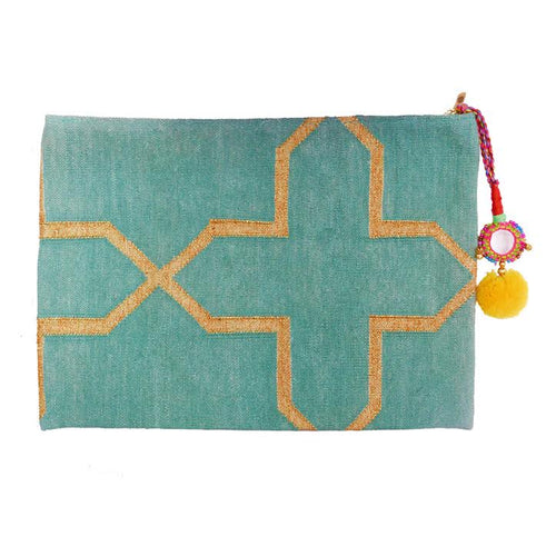 seafoam oversized clutch bag