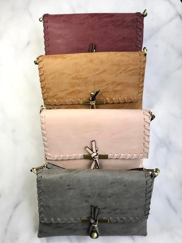 Top Stitch Crossbody Bag /  Clutch- Multiple Colors