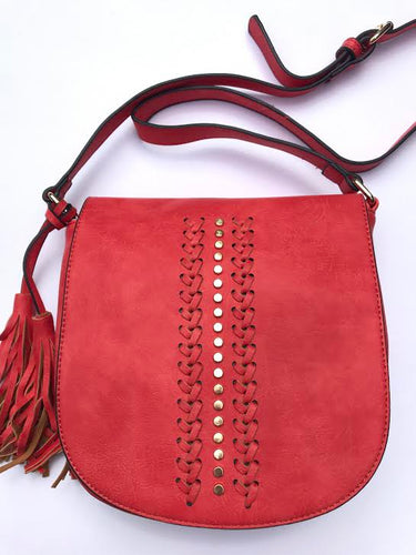 studded red crossbody bag