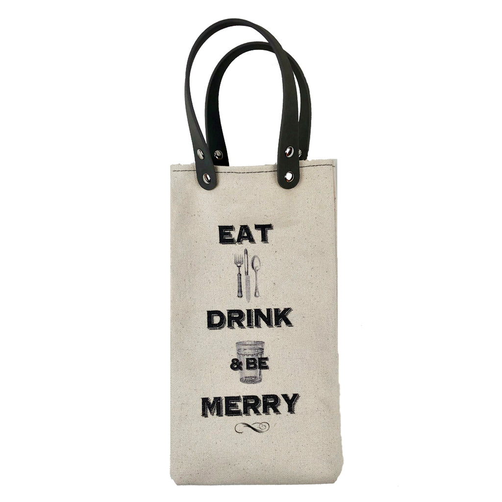 Eat Drink & Be Merry Wine Tote