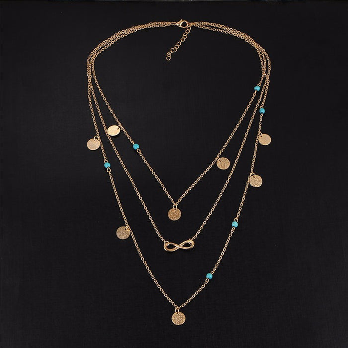 Adorned Multi Layers Tassel Infinity Necklace With Turquoise Choker