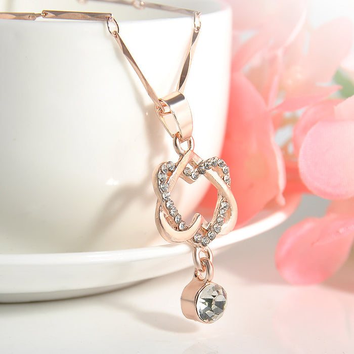 Lady Charm Double Hearts Rose Gold Necklace