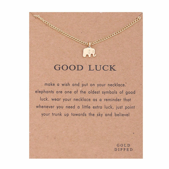 Good Luck Elephant Charm Necklace With Message Card