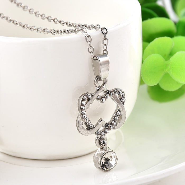 Lady Charm Double Hearts Silver Necklace