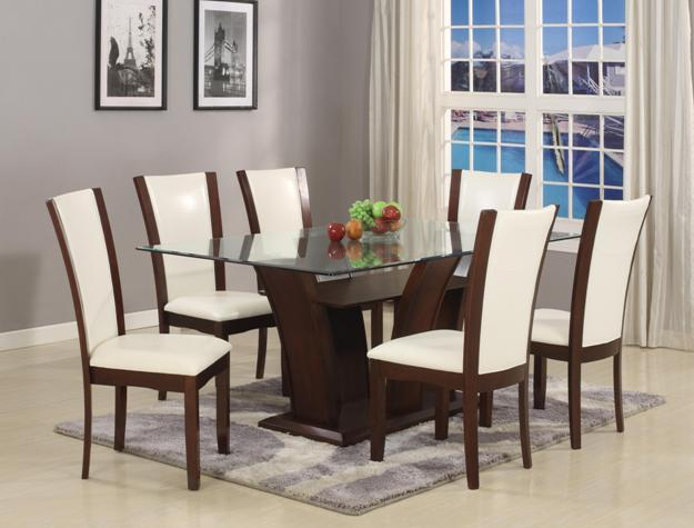 Camelia 7 Piece Glass Top Dining Room Set