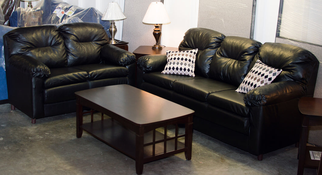 Faux Leather Sofa & Love Seat