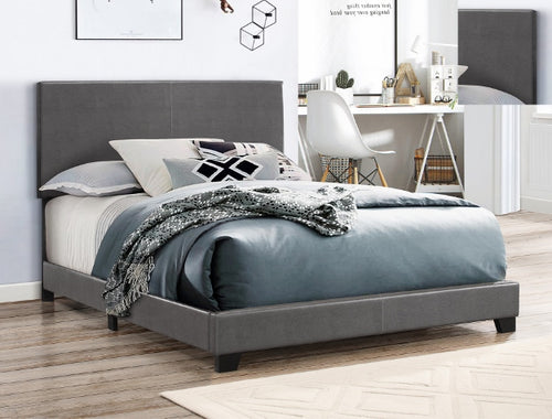 Faux Leather Gray Bed