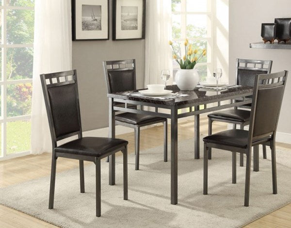 Faux Marble Top 5 Piece Dinette Set