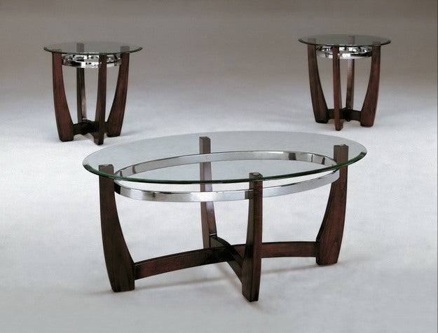 Mitchell 3 Piece Glass Top Table Set