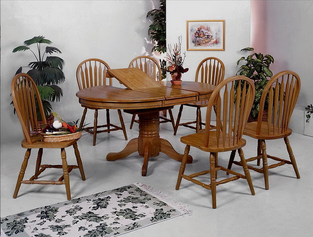 Traditional Oak Finish 5 Piece Butterfly Leaf Dining Set