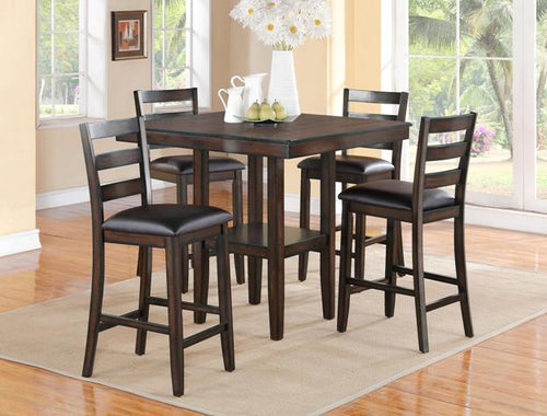 Tahoe Modern Espresso 5 Piece Pub Height Dining Set