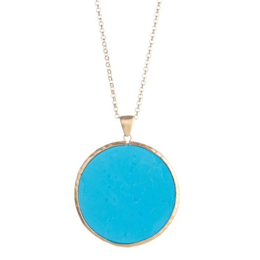 "Magnesite Round Pendant 28"" Necklace by Rivka Friedman"