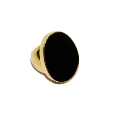 Polished Gold and Black Enamel Ring by Kenneth Jay Lane