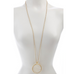 "Mother of Pearl Round Pendant 36"" Necklace by Rivka Friedman"