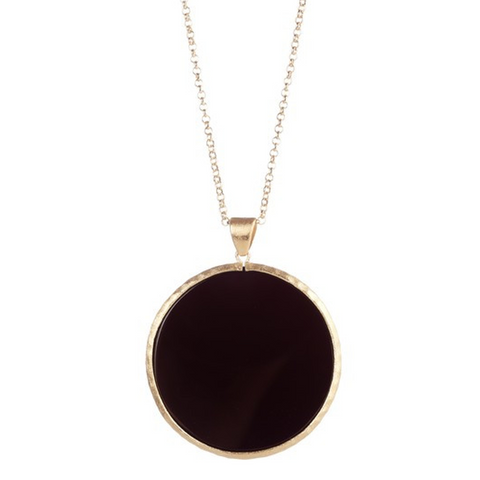 "Onyx Round Pendant 36"" Necklace by Rivka Friedman"