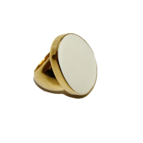 Polished Gold and White Enamel Ring by Kenneth Jay Lane