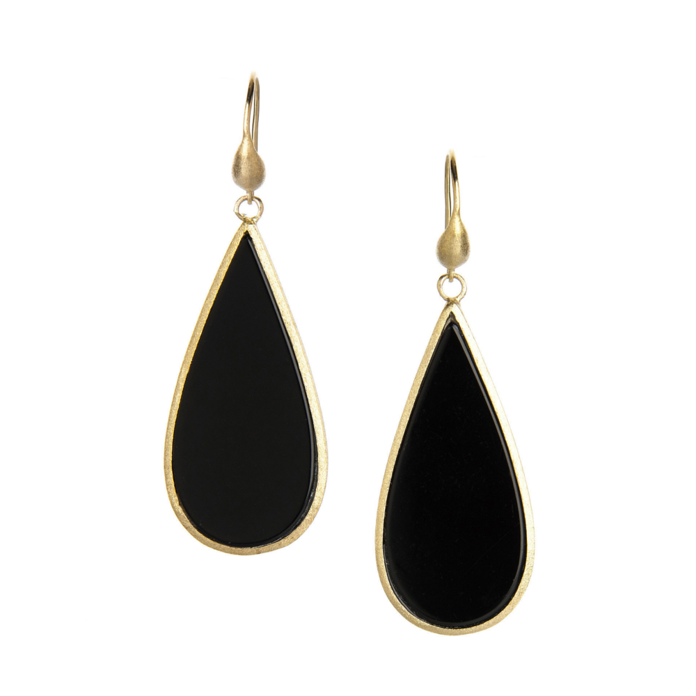 Onyx Sliced Dangle Earrings by Rivka Friedman