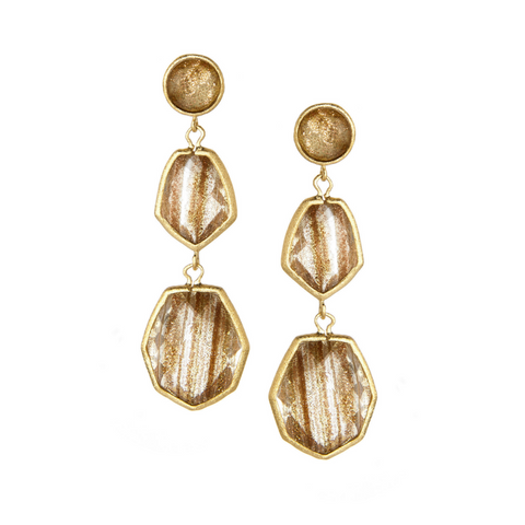 Gold Rutilated Triple Dangle Earrings by Rivka Friedman
