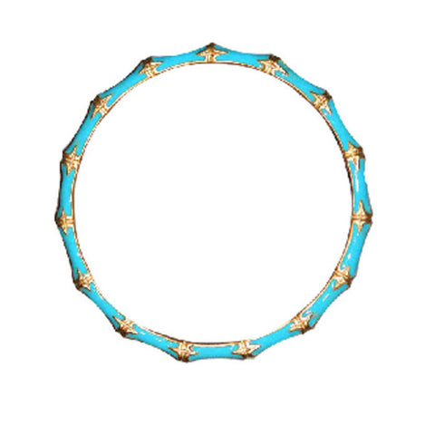 Turquoise Enamel Bamboo Bangle by Kenneth Jay Lane