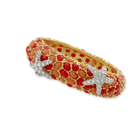 Two Tone Coral And Crystal Starfish Bracelet by Kenneth Jay Lane