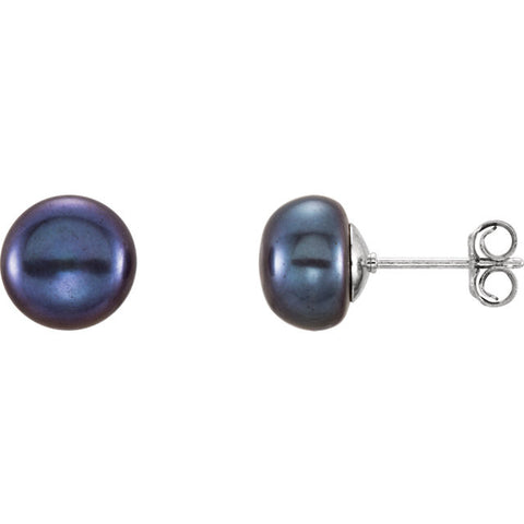 Black - 8-9MM - Fresh Water Pearl Sterling Silver Earrings