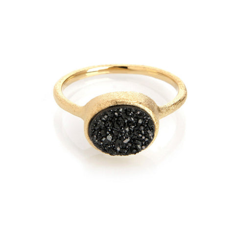 Black Druzy East West Ring by Rivka Friedman