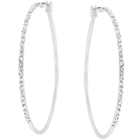 Silvertone Finish Cubic Zirconia Hoop Earrings