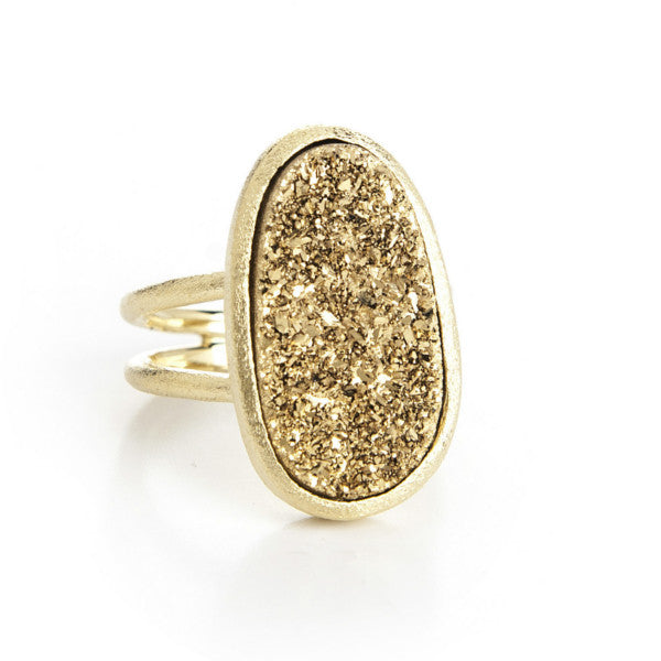 Gold Druzy Ring by Rivka Friedman