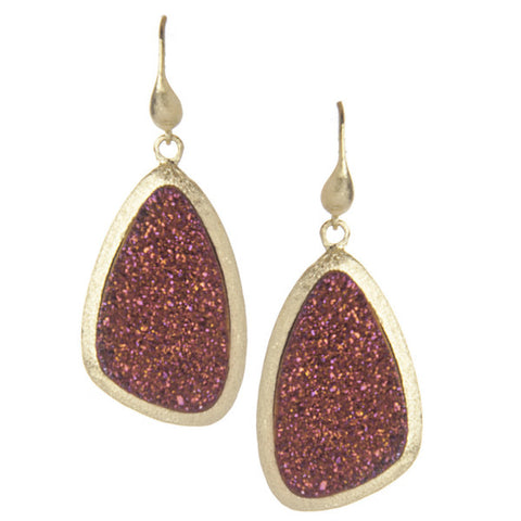 Red Velvet Druzy Quartz Earrings by Rivka Friedman