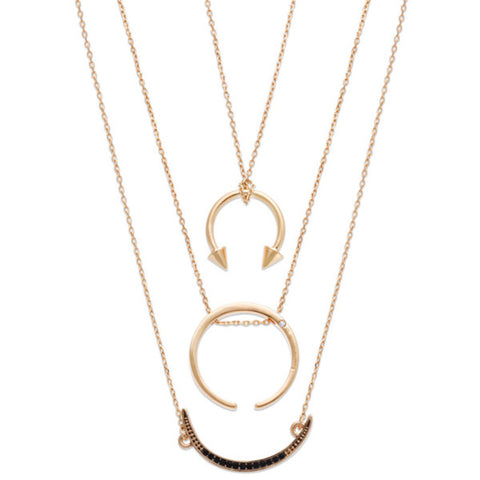 Layered Crescent Charm Necklace by Steve Madden