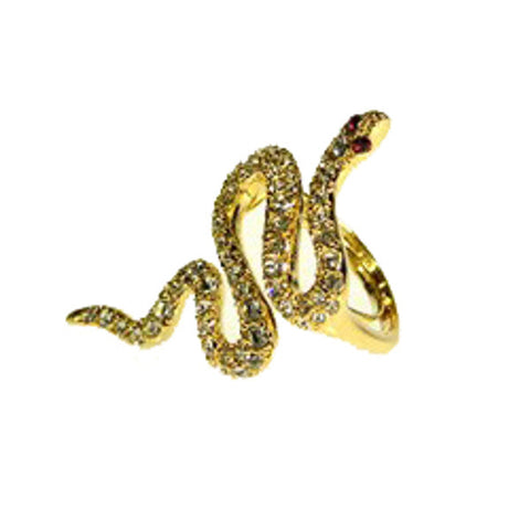 Gold and Crystal Snake Ring by Kenneth Jay Lane