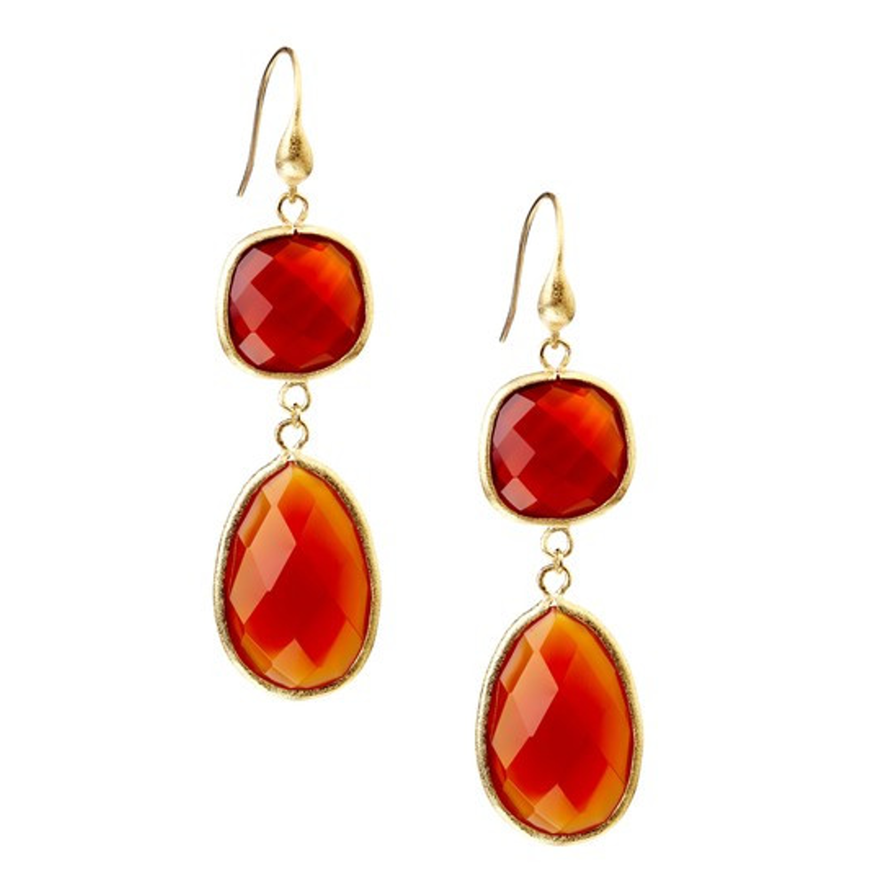 Carnelian Double Dangle Earrings by Rivka Friedman