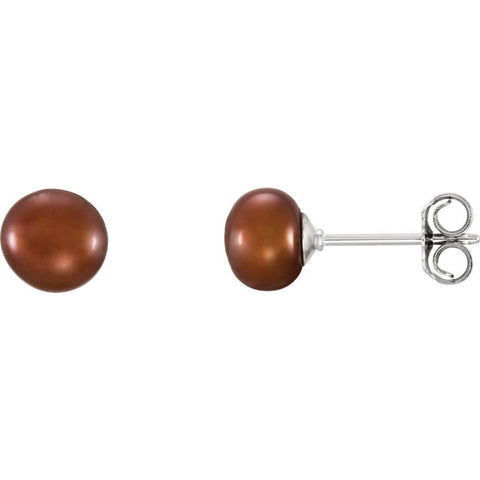 Chocolate - 5-6MM - Fresh Water Pearl Sterling Silver Earrings