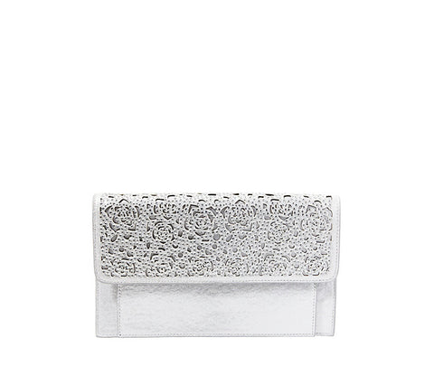 Mara Clutch in Silver by Betsey Johnson