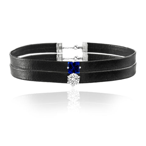 Blue and White Cubic Zirconia Double Layered Leather Choker