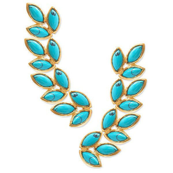 Sienna Crawlers Earrings Turquoise by Eddera