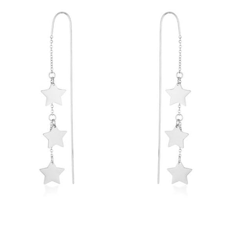 Reina Rhodium Stainless Steel Delicate Star Threaded Drop Earrings