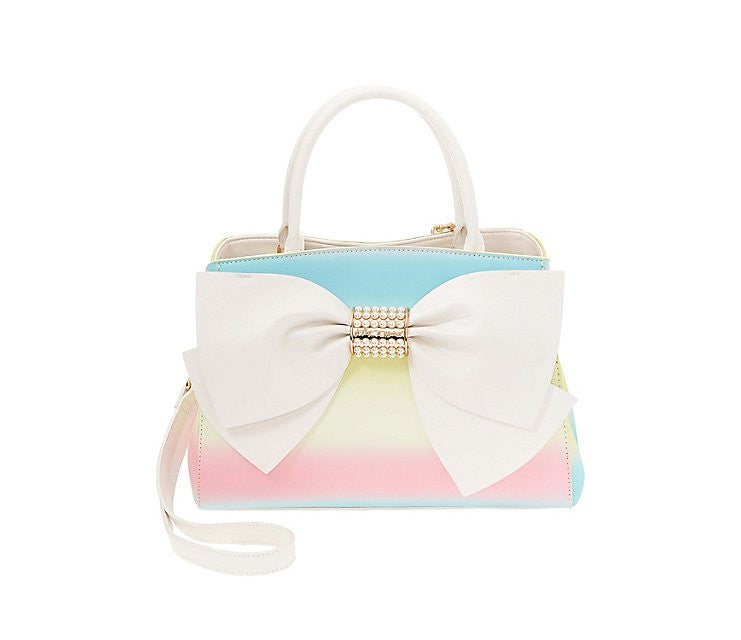 Pearl of a Girl Bow Satchel in Rainbow by Betsey Johnson