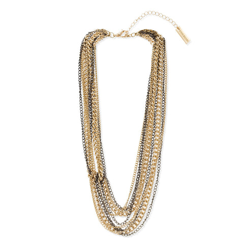 Two Tone Multi Layer Necklace by Steve Madden