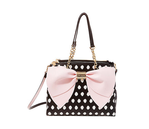 Welcome to the Big Bow Satchel in Polka Dot by Betsey Johnson