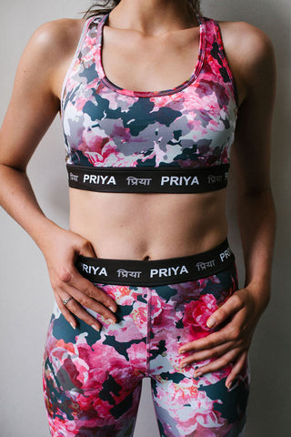 PRIYA In Bloom pink and grey floral sports bra priya activewear