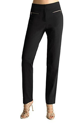 FOCUS 2000 Women's London Stretch Gold Zip Causal Dress Pants