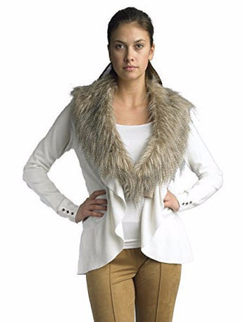 FOCUS 2000 Ladies Fancy Raffle Faux Fur Collar Open Cardigan