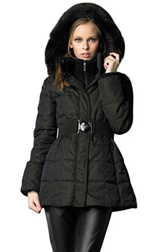 Searle Women Stylish Coat with Fox Fur Collar (Black Brown)