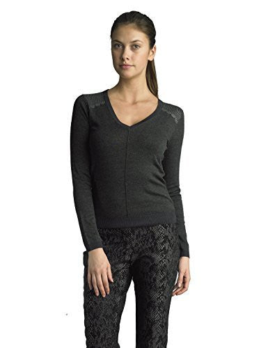 FOCUS 2000 Ladies V Neck Sparkly Shoulder Trim Sweater