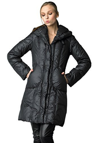 Searle Women 3/4 Length Pillow Collar Down Coat With Primaloft (Black)