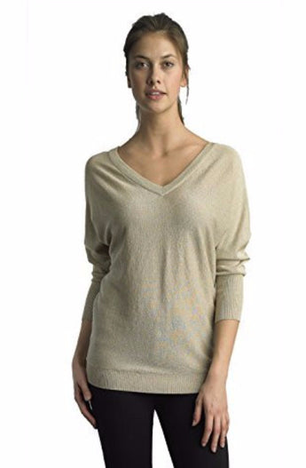 FOCUS 2000 Ladies Double V Neck Gold Lurex Sweater